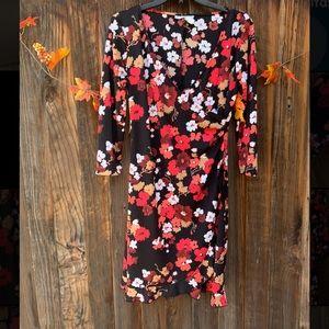 Alum Paige black floral 3/4 sleeves ruffled dress